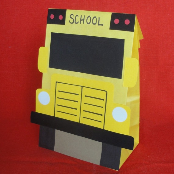 School Bus Birthday Party Treat Sacks School Education Theme Goody Favor Bags by jettabees on Etsy