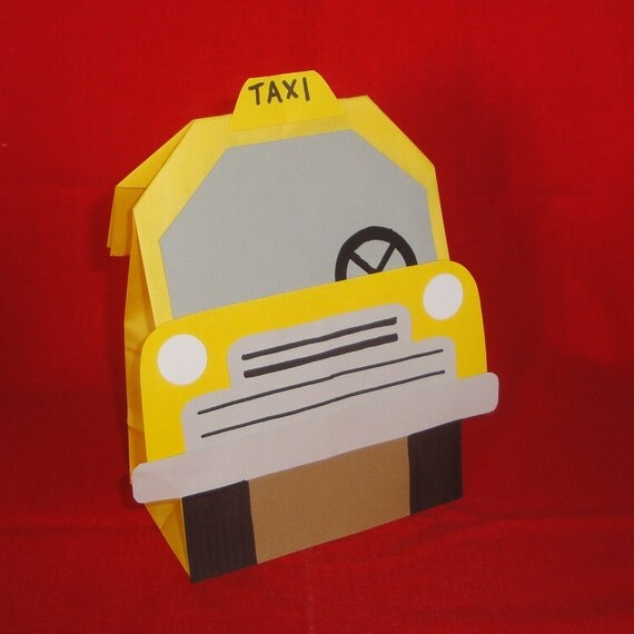Taxi Theme Birthday Party Favor Treat Sacks Goody Bags By