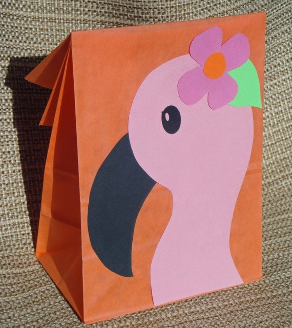 Pink Flamingo Treat Sacks - Tropical LUAU Zoo Beach Theme Birthday Party Goody Bags by jettabees on Etsy