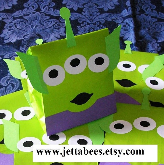RESERVED for dnb103 - Alien Birthday Party Favor Treat Sacks Goody Bags by jettabees on Etsy