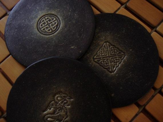 Leather coasters Celtic design (set of 6)