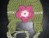 Spring green and pink earflap hat for baby- you choose size (Jaden)