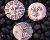 Mother Earth, Father Sun and Sister Moon Pewter Buttons