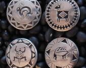 Southwest Mimbres Design Animal Spirit Pewter Buttons (4)