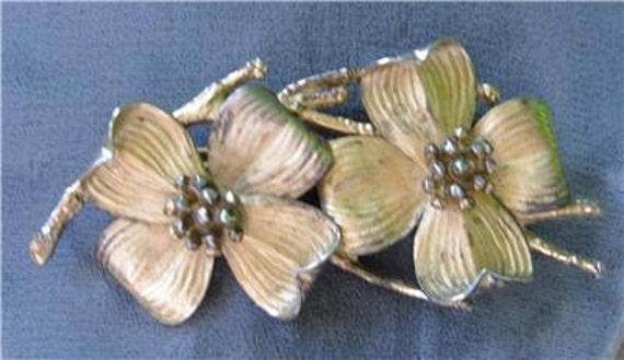 Vintage Napier Brooch Sterling Gold Vermeil Dogwood Flower Spray Pin Arts and Crafts 24g