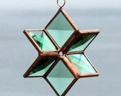 Three Dimensional Green Beveled Stained Glass Star with Copper Lines - Small