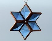 3D Blue and Copper Beveled Stained Glass Star Suncatcher