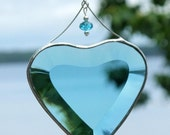 Turquoise Beveled Glass Heart Suncatcher with Beads and a Silver Line