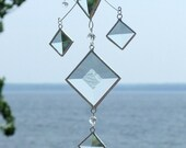 Glass Mobile Cluster of Clear Glass Bevels and Beads and Silver Lines