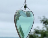 Stained Glass Heart Suncatcher Green Silver Heart Ornament Birthday Love Romantic Valentine Gift Idea