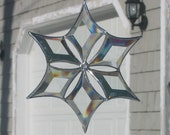 3D Clear Beveled Stained Glass Snowflake Suncatcher Ornament