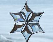 Beveled Glass Snowflake - Clear with Silver Lines - Small