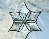 3D Clear Beveled Glass Snowflake Ornament with Silver Lines - Small