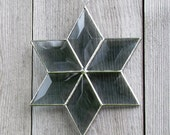 Grey beveled stained glass six-pointed star  suncatcher.