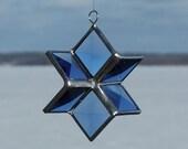 Blue Beveled Stained Glass 3D Star Suncatcher Ornament