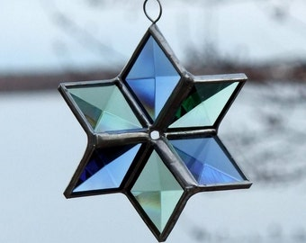 Blue and Green Stained Glass 3D Star Suncatcher - Small