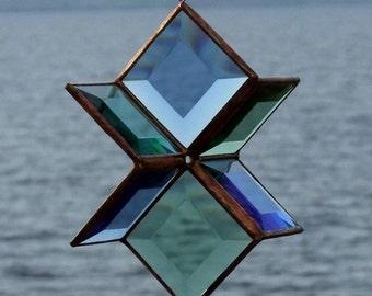 Blue and Green Beveled Glass Star Sculpture Indoor Outdoor Garden Art