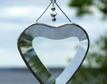 Clear Beveled Glass Heart with Beads and a Silver Line
