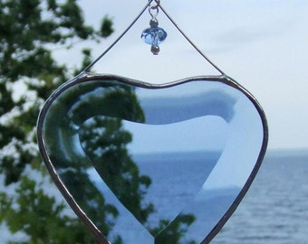 Blue Beveled Glass Heart Ornament with Beads and Siver Lines Romantic Stained Glass Gift Idea Handmade in Canada