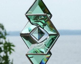 Green Glass Star Sundrop Sculpture Suncatcher Glass Garden Art