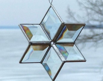 Clear Beveled Stained Glass Star Suncatcher 3D Six Point Hanging Star Ornament