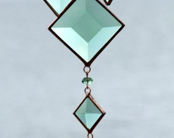 Mobile Cluster of Green Glass Bevels and Beads and Copper Lines