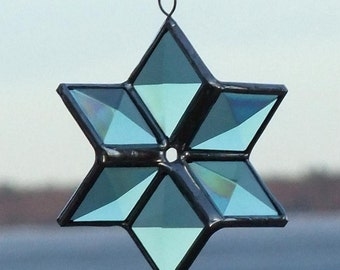 3D Green and Silver Beveled Stained Glass Star