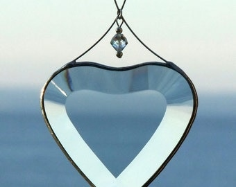 Clear Beveled Glass Heart Suncatcher Valentine