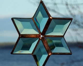 3D Green and Copper Geometric Stained Glass Star Bevel Suncatcher Featured on Apartment Therapy
