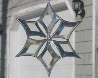 Stained Glass Snowflake Suncatcher 3D Beveled Glass Hanging Snowflake Sculpture Ornament Sculptural Glass Art Made in Canada