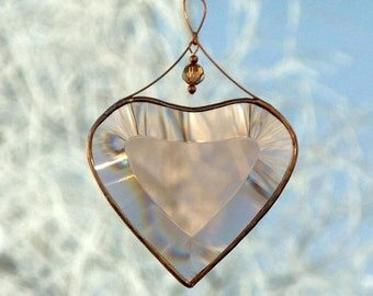 Peach Champagne Beveled Glass Heart Suncatcher Ornament with Beads and a Copper Line