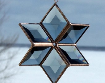 3D Grey and Copper Beveled Glass Star Suncatcher
