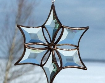 3D Clear Copper Beveled Stained Glass Snowflake Ornament Indoor Outdoor Garden Art