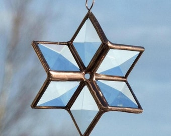 3D Clear Stained Glass Star Suncatcher with Copper Colored Lines Home and Garden Sparkling Bright Decor