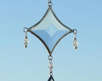 Mobile String of Clear Glass Bevels, Clear Glass Beads, Silver Beads and Silver Lines