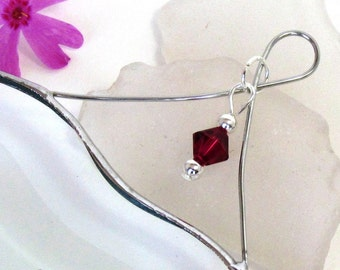 July Red Ruby Crystal Bead and Glass Heart Suncatcher