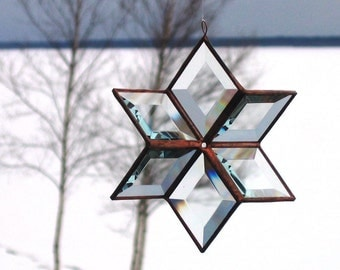 3D Handmade Stained Glass Star Suncatcher in Clear Beveled Glass and Copper Lines - Medium