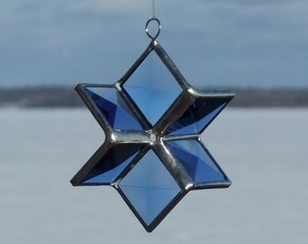 Blue Beveled Stained Glass 3D Star Suncatcher Ornament