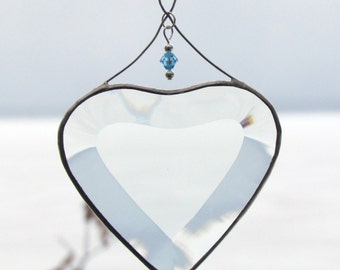 March Blue Aquamarine Crystal Bead with Glass Heart Suncatcher