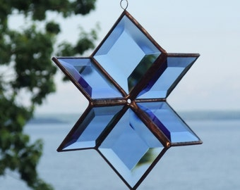 Stained Glass Geometric Star Suncatcher Blue Glass Hanging Sculpture Ornament Indoor Outdoor Glass Garden Art Handmade in Canada