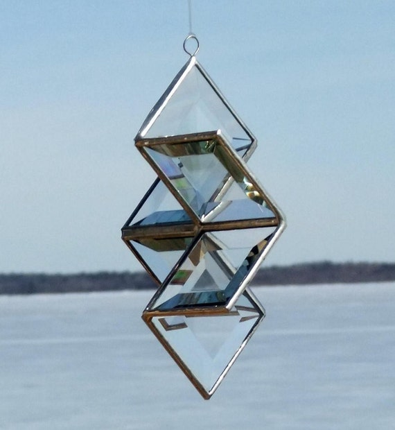 3D Clear Geometric Stained Glass Star Ornament Suncatcher