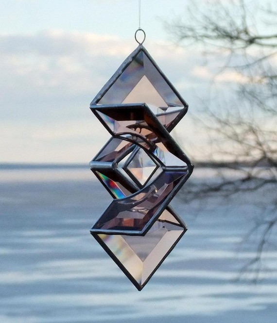 3D Geometric Peach Champagne Stained Glass Star Sundrop Suncatcher with Silver Lines