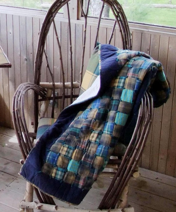 Custom Order for Cynthia - DEPOSIT for Two Plaid Flannel Lap Quilts