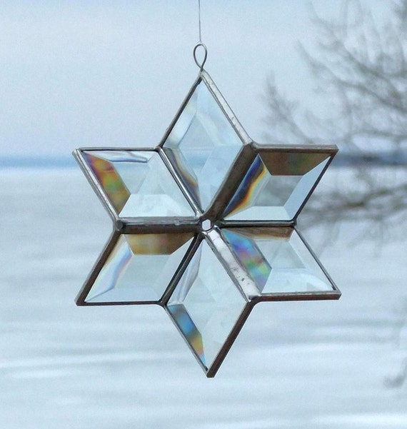 Clear Beveled Stained Glass Star 3D Suncatcher Ornament
