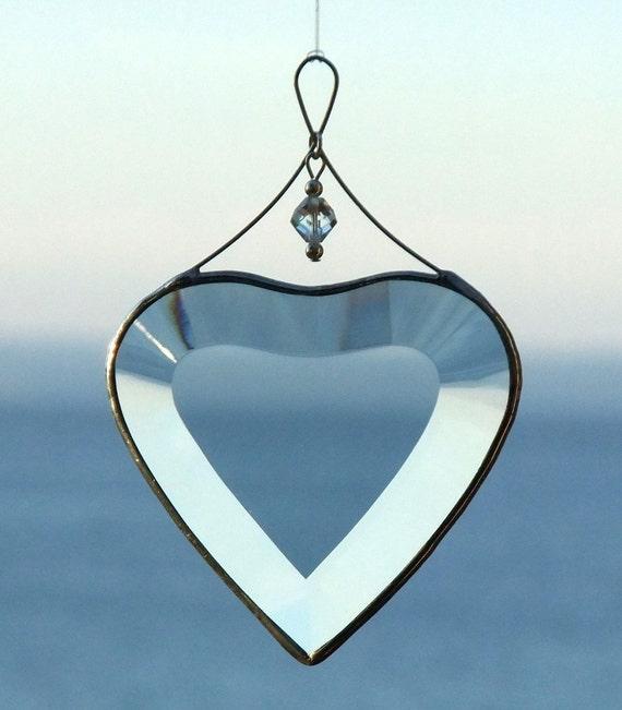 Clear Beveled Glass Heart Suncatcher Valentine