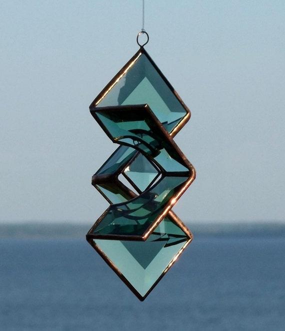 3D Green Beveled Glass Sundrop Star Suncatcher Sculpture with Copper Lines
