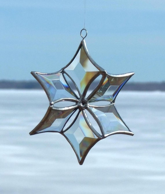 Stained Glass Suncatcher Snowflake 3D Clear Beveled Glass Ornament