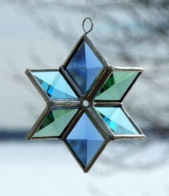 3D Beveled Stained Glass Star - Blue, Green, Turquoise Star Suncatcher
