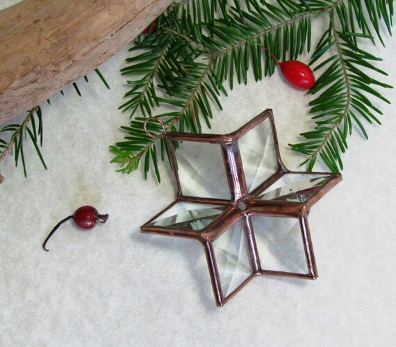 3D Clear Beveled Stained Glass Star Ornament with Copper Lines - Small