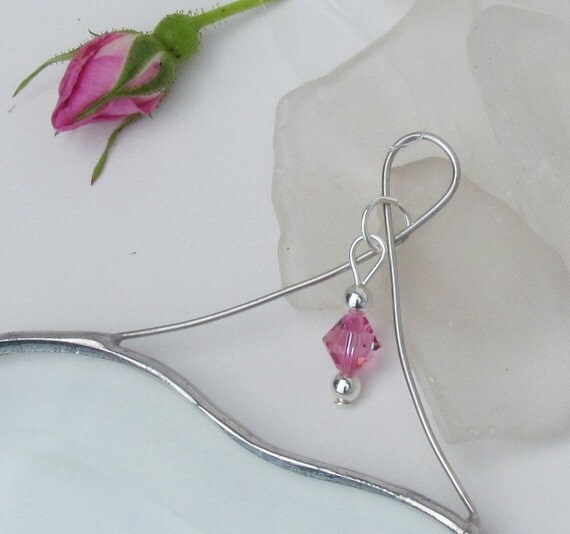October Pink Rose Crystal Bead and Glass Heart Suncatcher